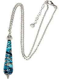 Necklace, woman in 925 silver rhodium plated and Murano glass enhanced by a white gold leaf made in Florence. CCR002/W01