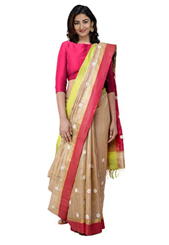 Unnati Silks Women Pure Handloom Jute Tussar Ghicha Silk Saree with blouse piece from the Weavers of Chattisgarh (UNM30692+Brown+Free size)