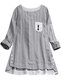 ab5624d86cc1 iHAZA Tunique T-Shirt Femme Chemisier à Rayures et Broderies de Chats Hauts  Manches Longues