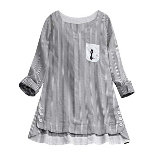 CAOQAO Damen Lässig Plus Größe Vertikal Streifen Lose Leinen Knopf Tunika Hemd Bluse -