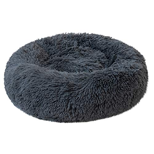 ABenxxou Chien lit, Chaud Tapis de Chien Rond Coussin Grande Taille Panier Lavable pour Chat Animaux de Deluxe Moelleux Lit pour Animal (XXL(diamètre de 70cm, Hauteur de 20cm), Bleu foncé)