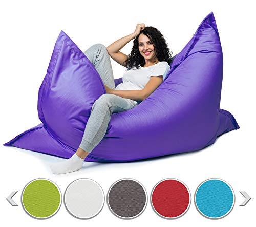 sunnypillow XL Sitzsack, Riesensitzsack Outdoor & Indoor 100 x 150 cm mit 140L Styropor Füllung Sessel für Kinder & Erwachsene Sitzkissen Sofa Beanbag viele Farben und Größen zur Auswahl Violett