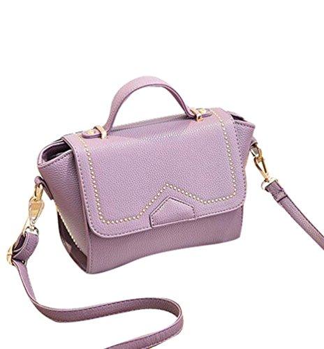 Baymate Damen Mode Tragetaschen Damen Reißverschluss Umhängetasche Handtaschen Hell Violett