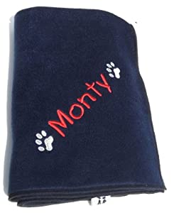 Cosy Paw Navy Blue Personalised 90cm x 70cm Dog Blanket. Please Write Name or Wording Required On Your Blanket in The Gift Note Box - This Appears on the WRAP Page During Checkout from Spoilt Rotten Pets
