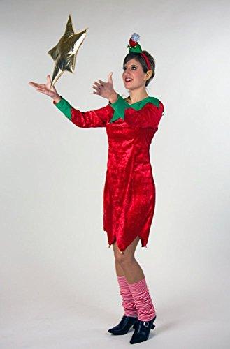 eihnachtswichtel Weihnachtself Kostüm Damen Kleid inkl. Haarreif + Mini Weihnachtsmütze Größe 38/40 (Weihnachtswichtel-kostüm)