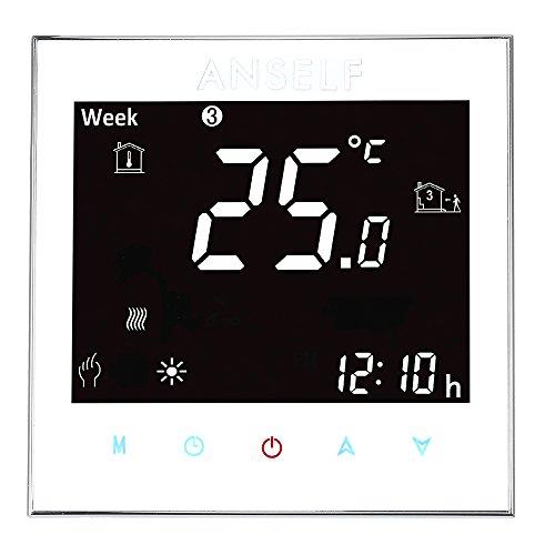 Anself Programmierbarer Raumthermostat Temperaturregler mit LCD Touchscreen Fußbodenheizung Wasserheizung - 8