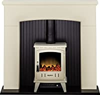 Adam Derwent Stove Suite in Cream with Aviemore Electric Stove in Cream, 48 Inch