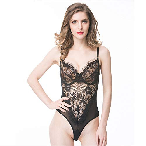 DXYQT Sexy Dessous Einteiliger Schlafanzug Sexy Sling Wimpern Spitze Jacquard Perspektive Large Size with Thong,Black-XL - Flirt Rock Cover