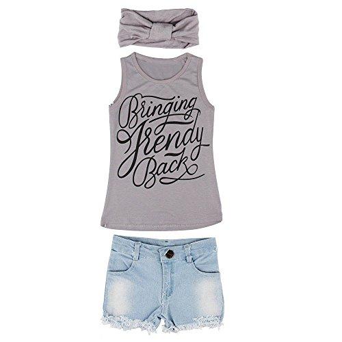Babykleidung Honestyi 1 Satz Kind Baby Mädchen Weste Top Kleidung + Jeans Hosen Shorts + Schal Anzug Outfit (Grau,XL)