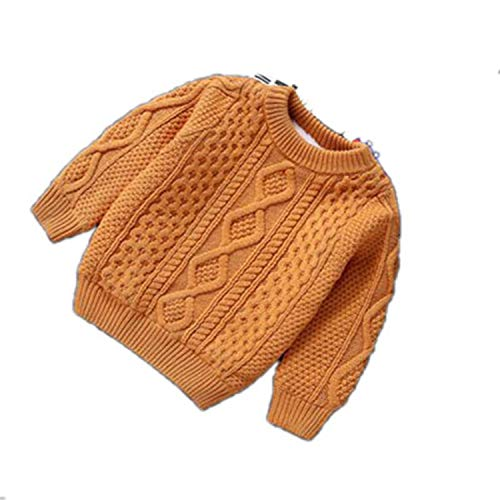 Winter Clothes Warm Baby Boys Girls Sweater Cashmere Pullovers Plush Inside Knitted Loose Jacket Orange 4T