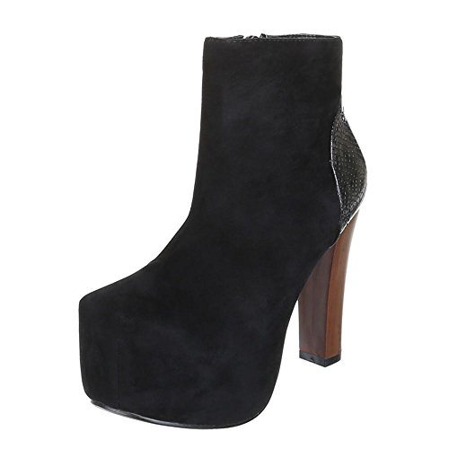 Chaussures, b751H-kB, hIGH hEELS aNKLE bOOTS bottines Noir - Noir