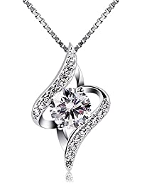 B.Catcher Women Necklace 925 Sterling Silver Necklace Cubic Zirconia Pendant, 18""