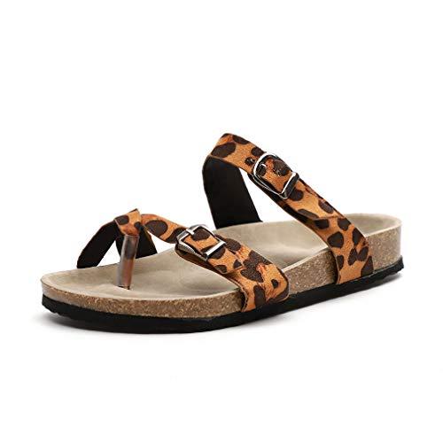 Zehentrenner Sandalen Damen Clip Toe Flip Flops Sommer Gladiator Sandaletten Schnalle Pantoletten Schuhe Bohemia Strand Leopard EU 37 Elegante Gold Open Toe