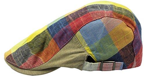Herren Damen Flat Cap Golfmütze Schiebermütze Schirmmütze Newsboy Hut in 6 Farben (Gelb)