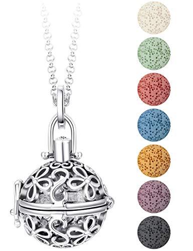 BE STEEL Aromatherapie Ätherisches Öl Diffusor Halskette Medaillon Anhänger Parfüm mit 7 Farben Lava Steinperlen, Halskette Kette 56cm (Farben, Parfüm)