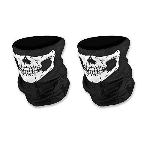 Doutop Paintball Maske Motorrad Sturmmaske 2er Pack Totenkopf Maske für Halloween Gesichtsmaske Skeleton Schädel Bandana für Radfahren Kart Balaclava Karneval Skifahren (Halloween Maskes)