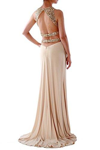 Bridal_Mall Damen 2 Stück Kristallperlen Crop Top-geöffnetes zurück Sleeveless langes Tanzabendkleid Champagne