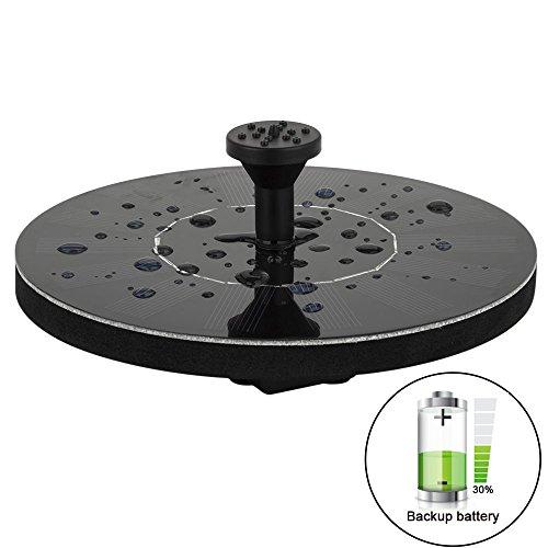 LUXJET 1.5W Solar schwimmender Brunnen Mini Pumpe Garten Wasserpumpe für den Hof, Durchfluss 150L/H(verbesserte Version mit eingebauter 1000mAh Batterie)