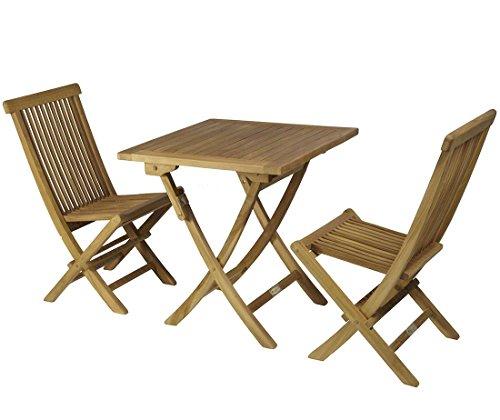 SYD Reihe von verstärkte Teakholz Tisch eckig 70cm Ø + 2Stühle