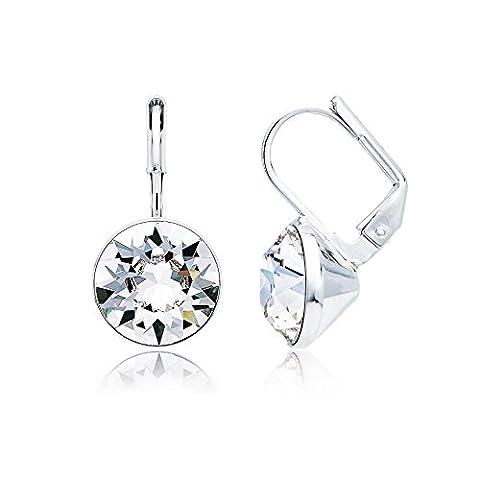 MYJS Bella Clear Crystal Drop Earrings, Rhodium Plated Swarovski Crystals, Nickel Free and Hypoallergenic, 11 mm Mini Drop Earrings Crystal