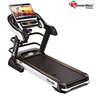 Powermax Fitness TDA-595 4 HP (8HP Peak) Motorized Treadmill for Home Use - Free Installation Service - 3 Years Motor Warranty - with 18.5 inch Touch Screen, Auto Lubrication and Multifunction