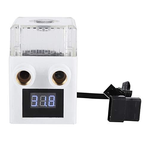 Tonysa G1 / 4 Gewinde PC Temperaturanzeige Wasserkühlungspumpe, PUB-12YT Keramik Integrierte Wassergekühlte Pumpe,Kühlbehälter mit Dreiphasen Permanentmagnetmotor/Gummimatte(Weiß)
