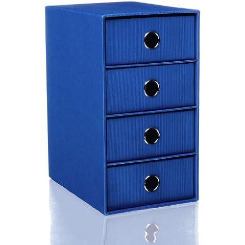 Rossler Soho - Portacorrispondenza a 4 cassetti blu