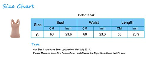 Kimring Women's Summer Sleeveless Casual Basic Slim Tank Top Vest Khaki