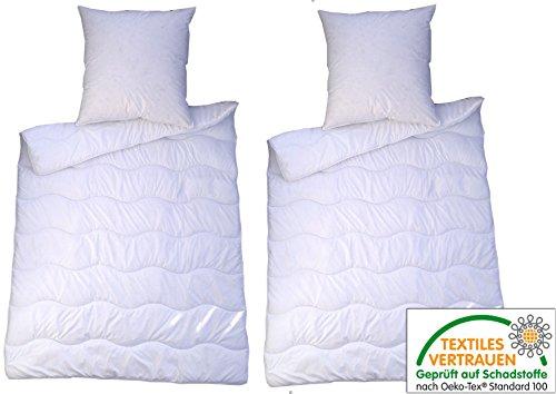 4 teilig Premium Bettenset weiss Allergiker Steppbett Steppbettdecke Bettwäsche Bettdecke 2x 135x200 cm & Kopfkissen 2x 80x80 cm Bezug 100% Polyester Füllung: Klimafaser (4 teilig)