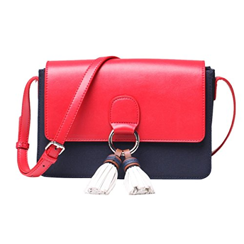 FZHLY Lady Tassel Nylon Buoi Panno Mini Bag,DarkBlueWithRed DarkBlueWithRed