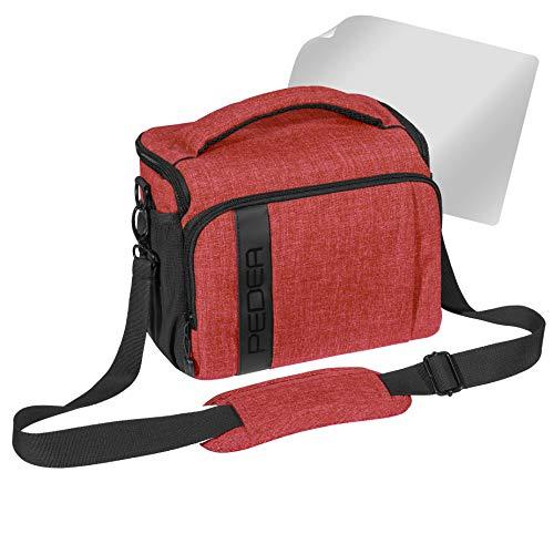 PEDEA SLR-Kameratasche Umhängetasche mit Displayschutz für Olympus E-M10, E-M5 Mark II, Pen E-PL8 E-PL9 / Canon EOS M50 / Nikon D5600, D7500 / Panasonic Lumix DMC G9 G70 G81 GX8 GX80, (XL) rot