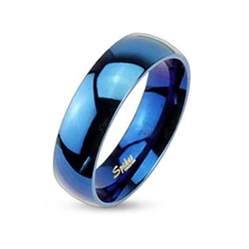 Paula & Fritz in acciaio inox Band anello blu lucido larghezza 6 mm disponibile Ringrößen 47 (15) - 69 (22), Acciaio inossidabile, 20, colore: Blu, cod. R004-6_90