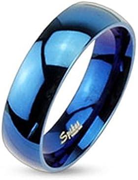 Paula & Fritz® Ring aus Edelstahl Chirurgenstahl 316L Band Ring Blau glänzend polliert 6mm breit verfügbare Ringrößen...
