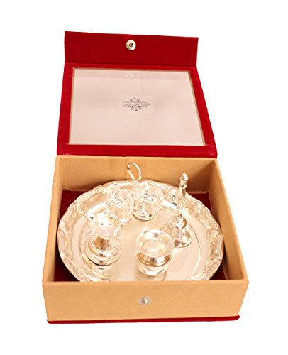 Indian-Art-Villa-Silver-Plated-Pooja-Aarti-Thali-With-Gift-Box-Used-As-Temple-Home-Set-Of-5-Pieces-Diwali-Gfit-Item