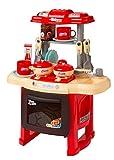Mini Spielküche, Kinderküche ausgestattet mit Kinder Geschirr, Töpfen, Pfannen und Plastikbesteck, Spielzeugküche mit Licht- und Toneffekten. Großer Spaß für kleine Köche! (Rot)