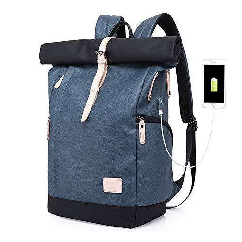 Laptop Rucksack Damen Herren, Rucksack mit USB-Anschluss für 15.6 Zoll Notebook, Wasserabweisend & Diebstahlschutz Roll Top Rucksack Daypacks Trekkingrucksacke Sportrucksack Reisetasche. (Blau)