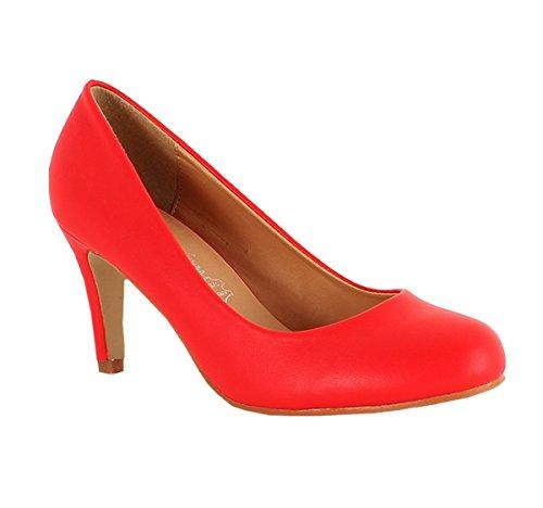 Klassische Damen Pumps Stilettos Abend Schuhe Party Hochzeit 33 (40, Rot) (Tanz Pumps Leder)