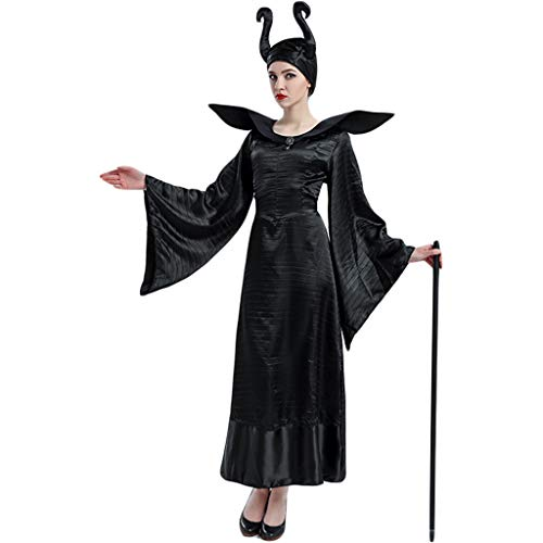 QWEASZER Frau Maleficent Black Gown Kostüm Halloween
