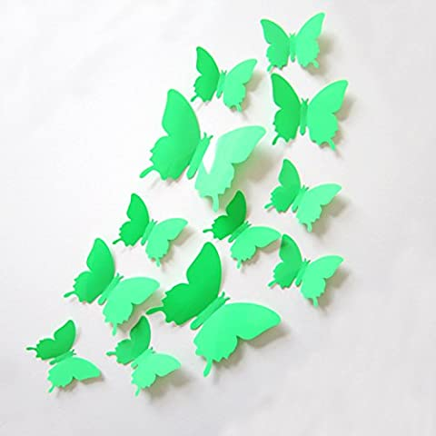 Clest F&H(R)12pcs 3D Butterfly Wall Stickers Decals Durable Plastic Butterfly Decorations Home Decoration(Green)
