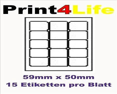 1500 Stk. Selbstklebende WEIßE Etiketten permanent klebend Adressetiketten Etikettenformat 59.0x50.0mm , 100 Blatt DIN A4, 70g/qm, geeignet für Inkjetdrucker-, Laserdrucker und Kopierer.