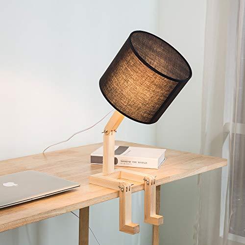 SUN EAGLE Roboter Nachttischlampe Stoff Lampenschirm Spiel Faltbare Massivholz Körper Kreative Tischlampe Für Schlafzimmer Wohnzimmer [Energieklasse A],Black (Lampenschirm Eagle)