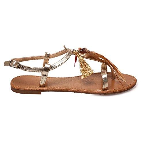 La Modeuse - Sandales plates type nu-pieds avec bride ajustable au niveau de la cheville Doré