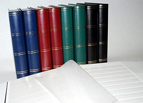 Prophila Leuchtturm 60 weiße Seiten Luxus Briefmarkenalbum Einsteckbuch wattierter blauer Einband