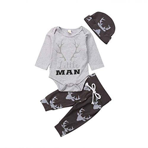 Nansiche Neugeborenes Baby-Weihnachtsstrampler + Lange Hosen + Hut 3Pcs Little Man Langarm Elch Babysuit Outfit Set (0-6M)