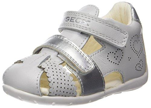 Geox Baby Mädchen B Kaytan C Sandalen, Weiß (White/Silver), 23 EU