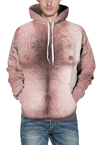 Pretty321 Men Women Funny Trap Digital Print Hoodie Sweatshirt w/ Pocket Collection Hairy Print Body