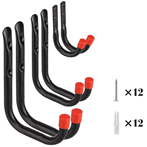 Housolution Metal Hooks Set, 6 Pack Heavy Duty Low-Carbon Steel Garage Hook Hanging Set Garden Hangers Garage Storage Utility Hooks with 12PCS Screws and Anchors, Black + Red Cap