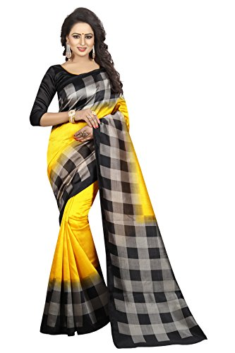 Clothsfab Women's Art Silk saree with blouse piece (Free_Size_Yellow)