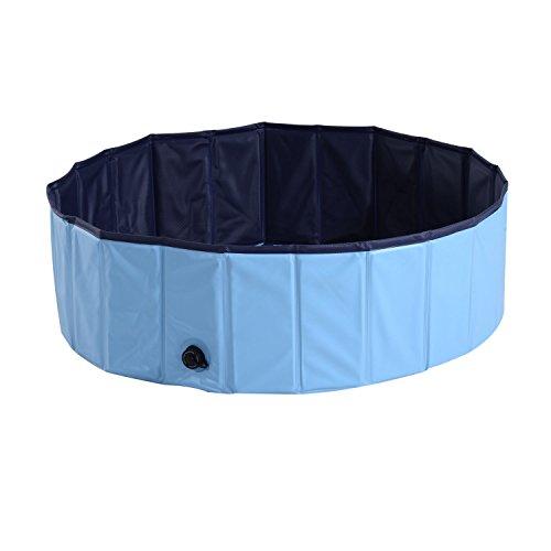 PawHut Bañera para Perros Gatos Plegable Piscina para Mascotas Natación Baño Φ100x30cm Color Azul