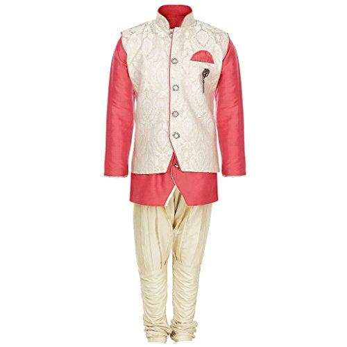 AJ Dezines Kids Kurta Pyjama Waistcoat Set for Boys (1210_PINK_2)